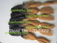 "stock! factory cheap price 20"" folded 100% synthetic ombre kanekalon jumbo braiding hair free shipping"
