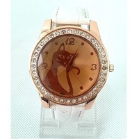 W52 2013 New Wholesale Fashion Rhinestone Cat/Fox High Quality PU Leather Women Quartz Watch