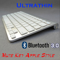 Ultra-Slim Mute Key Bluetooth 3.0 Wireless Keyboard for iPad Air/Mini 2,Windows XP, Vista, 7 and other Tablets - Silver