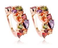 Women's fashion earrings New arrival brand sweet metal with gems stud earring for women girls E1029