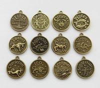 (26611) 12PCS Assorted Antiqued bronze Zodiac charms   twelve constellations Metal pendant