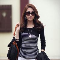 Fashion 2014 large size women fashion Striped female models Korean version Autumn fashion loose long-sleeved t-shirt
