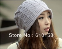 New Autumn Winter Knitting Wool Hat for Women Caps Lady Beanie Knitted Hats Caps, Free Shipping