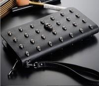 HOT Handbag NEW 2014 Fashion Bag Unisex Skull CrossBones Rivet Personality Wallet Black Free Shipping