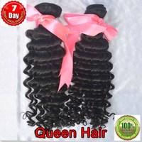 100% unprocessed hair extension,6A Queen virgin brazilian hair weaving deep wave 2 bundle / lot ,3.5oz / bundle  free shipping