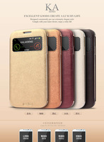 Fashion Leather Case Stand KA Series S View Flip Cover For Samsung Galaxy S4 I9500 Wallet Case Free Shipping
