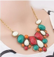 2014 Fashion Europe Colorful Bubbles Bib Stone Necklace D15R15 Free Shipping