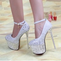 2014 sexy wedding shoes 16cm red bottom shoes ankle strrap platform lady rhinestone rivet shoes bling women's pump shoes