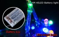10PCS 4M string 40 Multi LED Christmas DIY Light , Mini Portable AA Battery Power lights , 9 colors , Free drop shipping