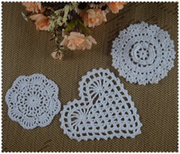 3D Round Crochet Doily handmade Crochet cup mat Pad White, Pink,Ecru table mat 10-13CM 30pcs/LOT