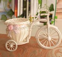 Plastic rattan wicker trycycle basket vase wedding home decoration bandwagon