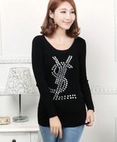 Free shipping 2014 winter women's zipper strip Women sweater  long-sleeve o-neck sweater basic shirt  pullover sweater female