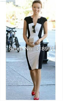 European and American Star Models Black and White Stitching T station Slim Dress Free Shipping Retail and Wholesale
