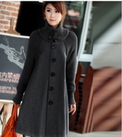 2013 New Hot new cape-style woolen coat long section of Korean women were thin coat to increase women's plus thick velvet