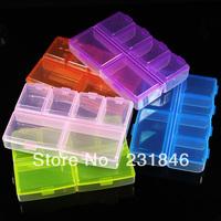 Wholesales 10 PCS Empty Plastic Storage Case Box Container 6 Cells Nail Art Craft Rhinestone Decoration Gems