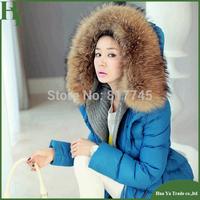 J003 New Fashion Coats 2013 Womens Blue Goose Down Jacket With Big Fur Hood Free Shipping