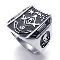 Men Jewelry Men's Stainless Steel Skull Freemason Masonic Signet Ring, Black Silver