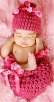 5sets Hand Crochet Cotton Baby Rose Beanies Hats Caps Sleep Bag Newborn Girl Costume Set Photography Props For 0-12 Months