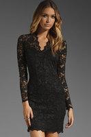 2014 New Fashion Elegant Women's Lace Party Club Mini Dress Black V-Neck Long Sleeves Casual Dress Free Drop Shipping