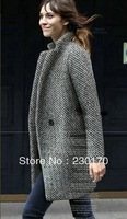 Genuine purchasing new winter 2013 houndstooth tweed wool coat woolen coat child