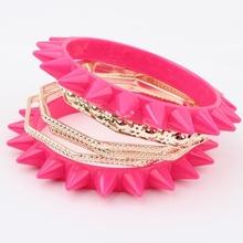 Min. order is $10(mix) 671 layer spike punk statement bangle bracelet fashion bangle wholesale jewelry 2013(China (Mainland))