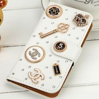 3D rhinestone case for samsung galaxy s4 I9500 cute charming design leather case free shipping