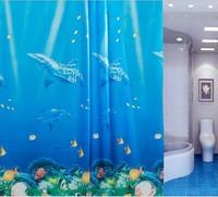 3PCS/Lot Waterproof Dolphin Tropical Fish Ocean Theme Shower Curtain PVC Eco-friendly Peva Bathroom Curtain 180cm*180cm+12Hooks
