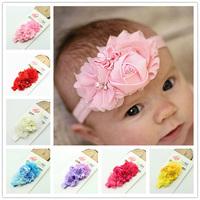 NEW Infant Toddler Baby Headbands Chiffon Shabby Flower +Satin Rose Flower Headbands 30pcs/lot Christmas headband for baby kids