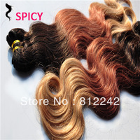 Brazilian 6A ombre hair 4pcs/lot #1b/#33/#27 cheap virgin hair weave