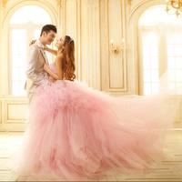 2014 Gossip.H All size All color Personal custom Princess Plus size Sweet pink wedding dress Luxury big train straps dress