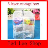 6 Quantity Lattice Multi Utility jewel Storage Case Box 3 Layer Nail Art Craft Fishing Makeup Tool casket Free Shipping