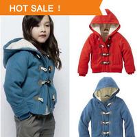 2013 Winter Girls Jacket Fashion Brand Horn Button Child Thickening Outerwear Overcoat Female Child Outerwear Retail