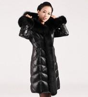 New 2013 Winter Down Coat Women Sheepskin Coat fox Collar Fur Coat Women