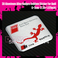 DAYO - New 3D Sline Quattro Aluminum Alloy Badges Emblem Sticker For Audi, 6*5cm (2.36*1.97inch), 20pcs/lot