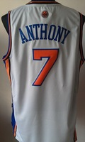 Free Shipping, Retail& Wholesales basketball Jersey No.7 Carmelo Anthony white Orange and blue Jersey, New fabric printing