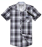 NEW MEN'S 100% COTTON CASUAL PLAID SHIRT MALE SHORT-SLEEVE SUMMER BLUE PLAID SLIM QUALITY FASHION SHIRT PLUS SIZE ML,XL,XXL,3XL