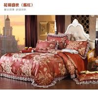 European style Jacquard Tribute Silk bedding sets queen king size 4pc Lace wedding duvet cover/bed linen/bedclothes home textile