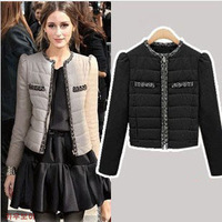 6707#big European and American women's winter coat short section of thick cotton-padded jacket coat