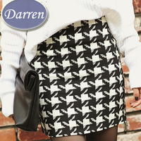 New fashion Women's Skirts 2014 Slim Hip High Waist White and Black Plaid Mini Short Bud Skirt Winter Spring