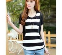 striped chiffon shirt big yards female Korean version of the bat loose short-sleeved summer women T-shirt