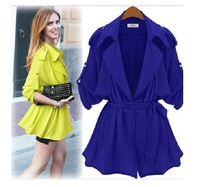 6698 # 2014 Hitz pure color loose women long-sleeved windbreaker jacket