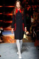 Free Shipping 2014 Trend Runway Long Sleeve Turn-down Collar Single Breast Black Contrast Color Woolen Overcoat Women Wintert