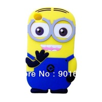 Free Shipping 1pcs/lot NEW 3D DESPICABLE ME MINIONS soft silicone case cover for ipod touch 4 4g 4th generation