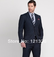 2014 Free shipping high quality wool suit Custom made Men suit WIDE PINSTRIPE SUIT(Jacket + pants +Tie) Suit