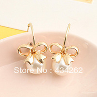Brincos ks bijoux 18k gold plated earrings for women Fashion cutout pearl bow all-match  e8759  Min.order $10