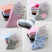 Hot selling winter thickening dot terry socks women's sock wholesale 1 lot = 5 pairs = 10 pcs