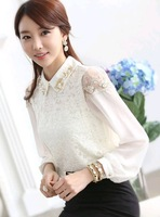 New Arrival 2014 Graceful White Ol Women's Shirt Spring-Autumn Long-Sleeve Lace Chiffon Shirt