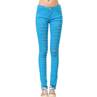 [TC]  Women Jeans pencil pants new 2013 elastic jeans skinny pants pencil pants  female hole slim trend