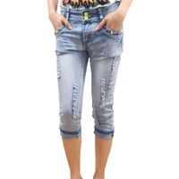 [TC]  Women Jeans pencil pants  autumn -summer capris jeans female paint hole breeched pencil pants