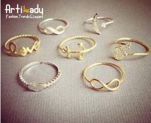 Artilady 2015 fashion 7pcs stacking midi rings infinite love deisgn women jewelry